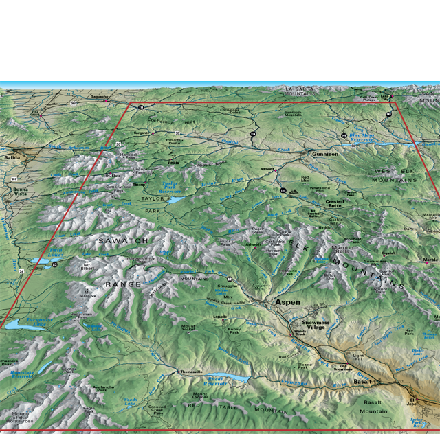 3D map view central colorado