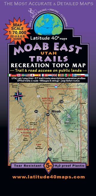 moab east trails utah recreation topo map latitude 40Â maps