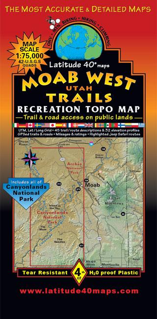 Moab West Trails Utah Recreation Topo Map Latitude 40