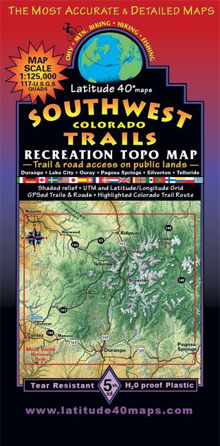 Southwest Colorado Trails Recreation Topo Map Latitude Maps - Where to get topo maps for hiking