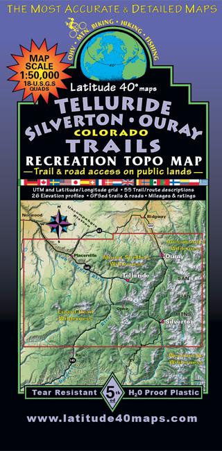 Telluride Silverton Ouray Trails Colorado Topo Map Latitude
