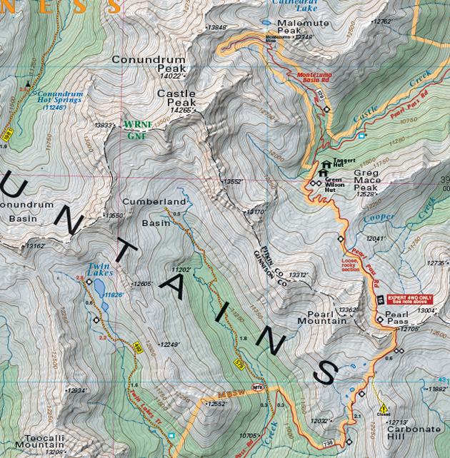 Pearl Pass Colorado map