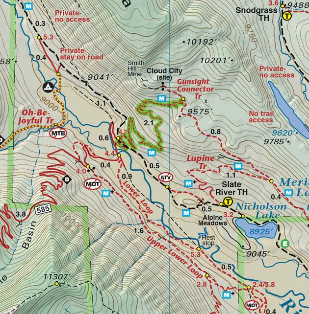 Gunsight Connector trail map