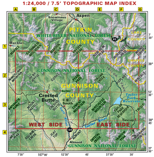 Crested Butte Taylor Park recreation map