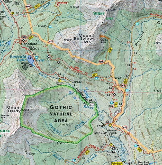 Gothic Colorado topo map