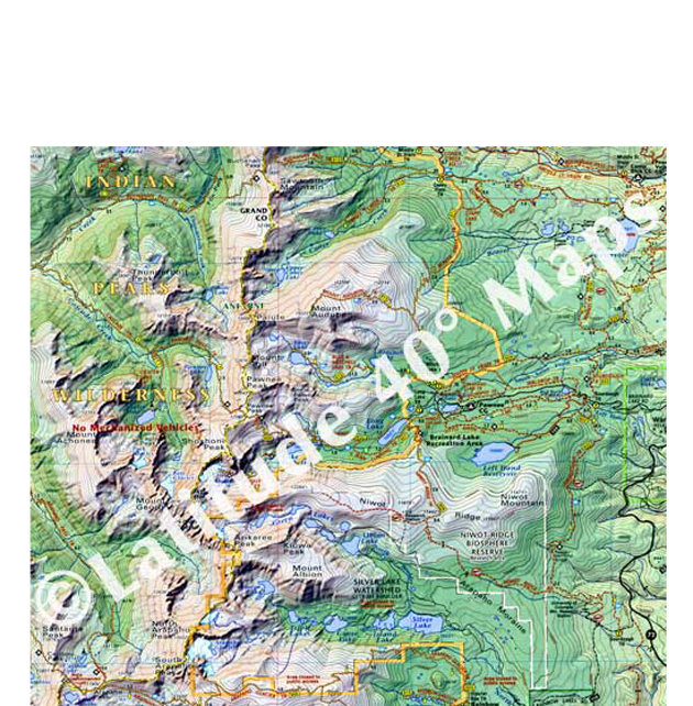 Indian Peaks topographic trail map