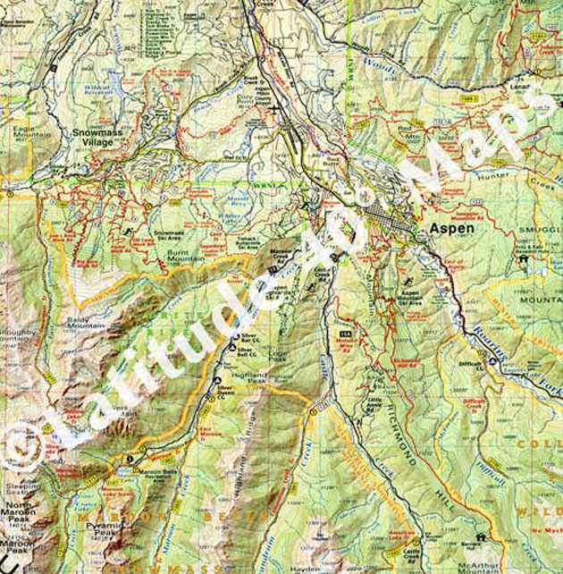 Aspen Colorado topographic recreation map