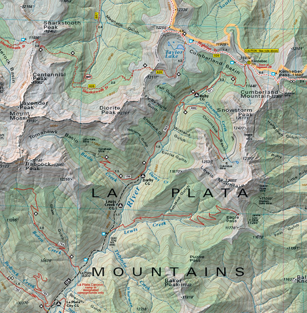 La Plata Mountains topographic trail map