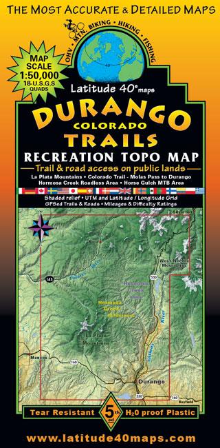 durango trails colorado recreation topo map latitude Utah County Open Range Map