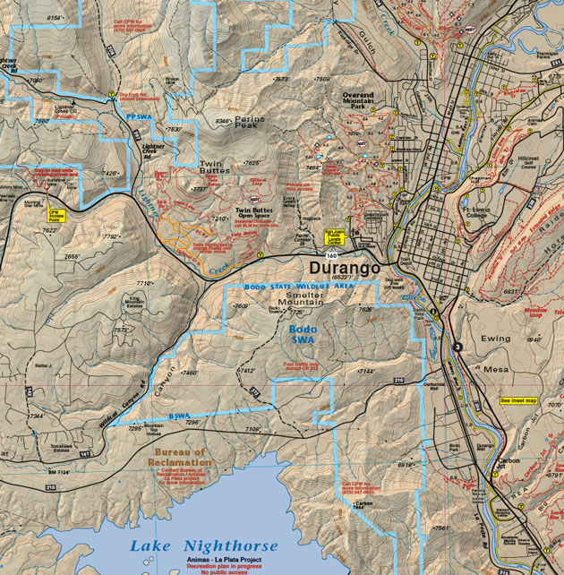 Durango Colorado map