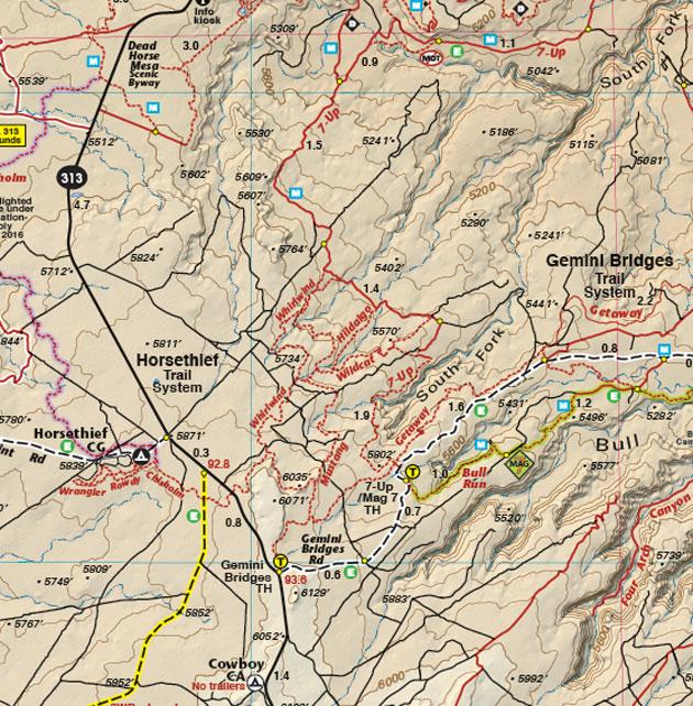 Gemini Bridges trail map