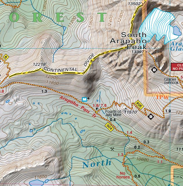 Arapahoe Pass trail map