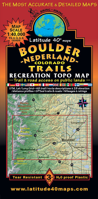 Boulder - Nederland Trails | Recreation Topo Map | Laude 40° maps on