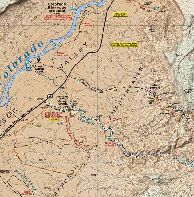 Moab Utah Professor Valley recreation map