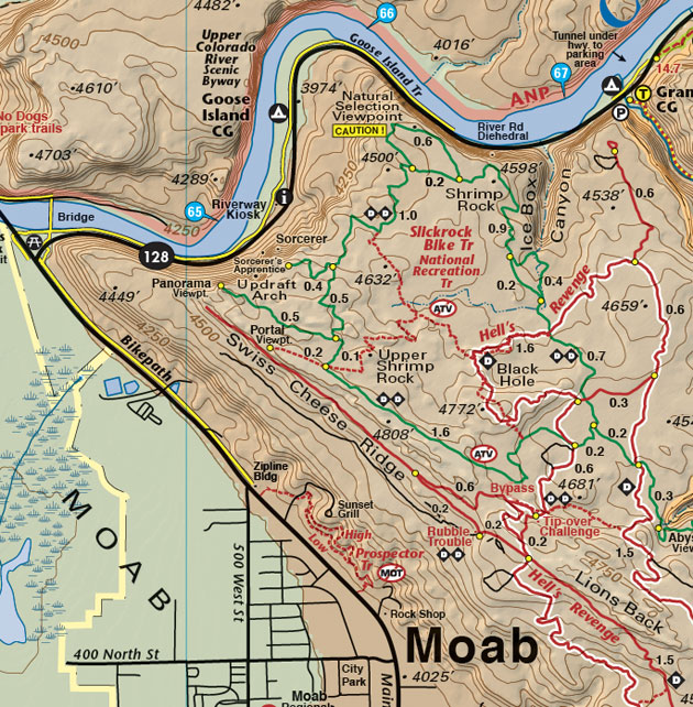 Slickrock Trail map - Moab Utah