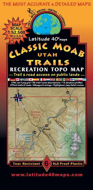 Classic Moab Trails | Utah Recreation Topo Map | Latitude 40 ...