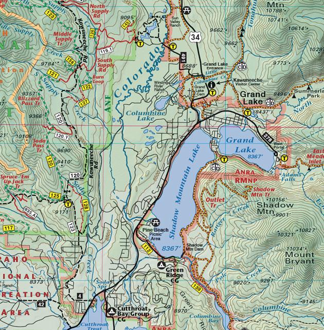 Grand Lake Colorado recreation trail map