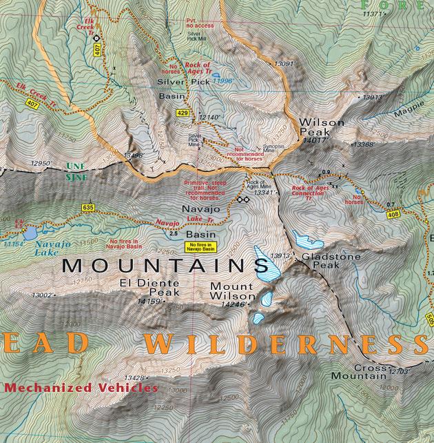 lizard head wilderness trail map