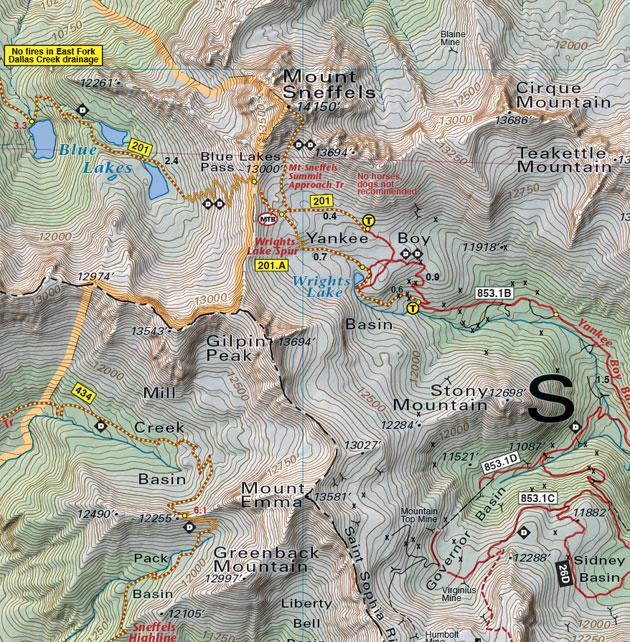 mount sneffels wilderness tail map