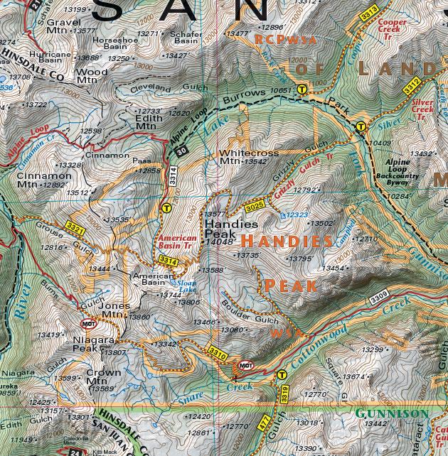 Handies Peak Colorado trail map