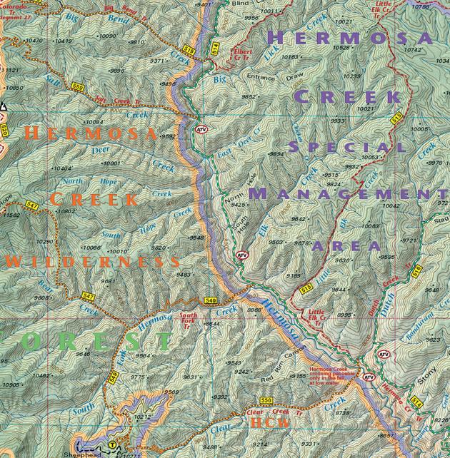 Hermosa Creek Wilderness hiking map