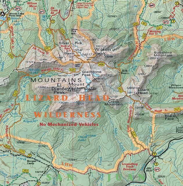 Lizard Head Peak hiking map