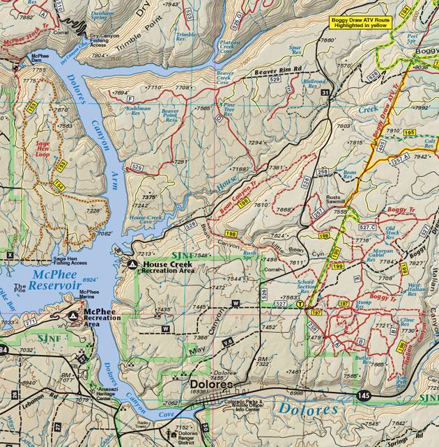 McPhee Reservoir map trail four wheel drive dirt road