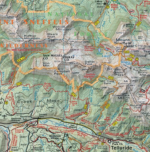 Mount Sneffells trail map