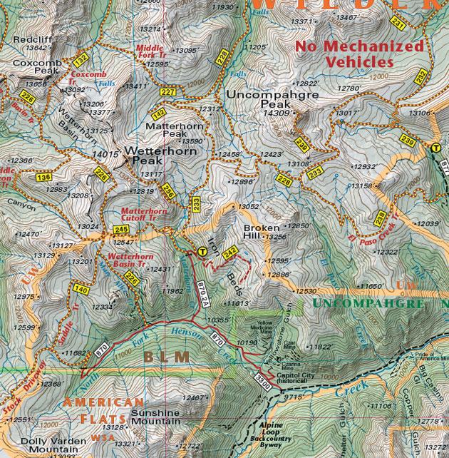 Wetterhorn Peak Uncompahgre Peak Map