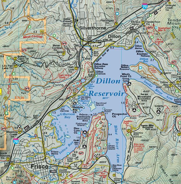Dillion Frisco Colorado recreation map