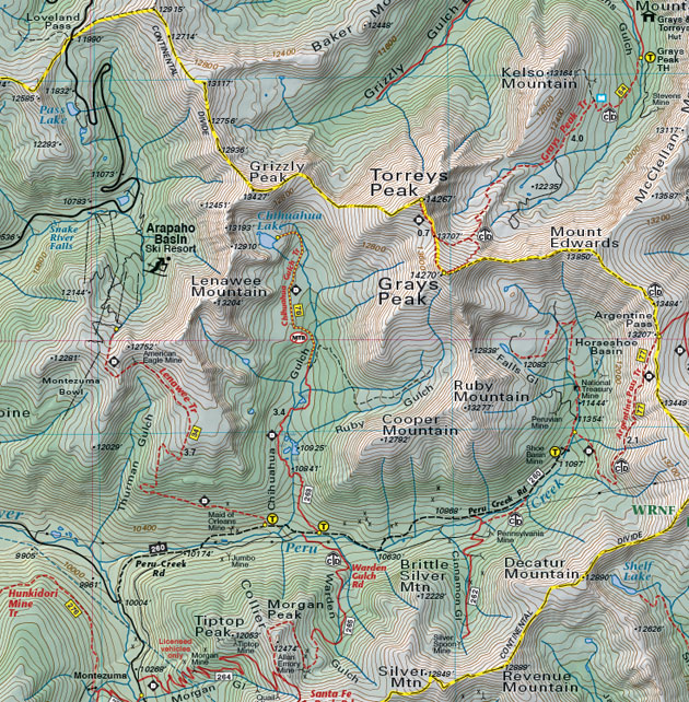 Grays & Torreys peaks trail map