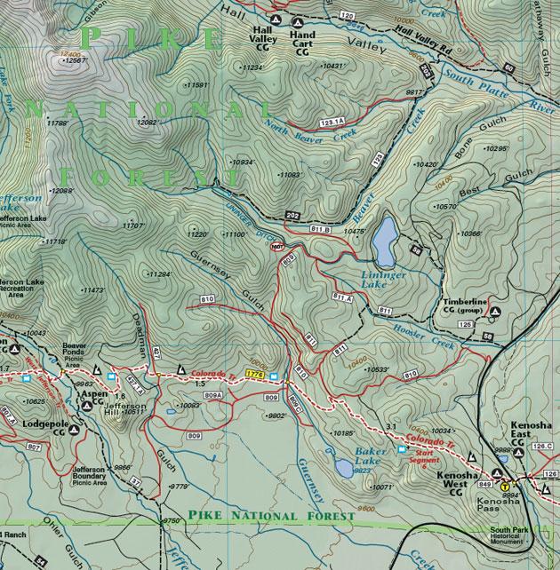 Kenosha Pass summit county map