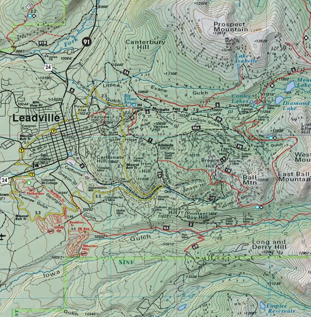 Leadville trail jeep road map