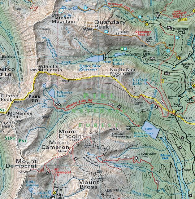 Quandary Peak trail map
