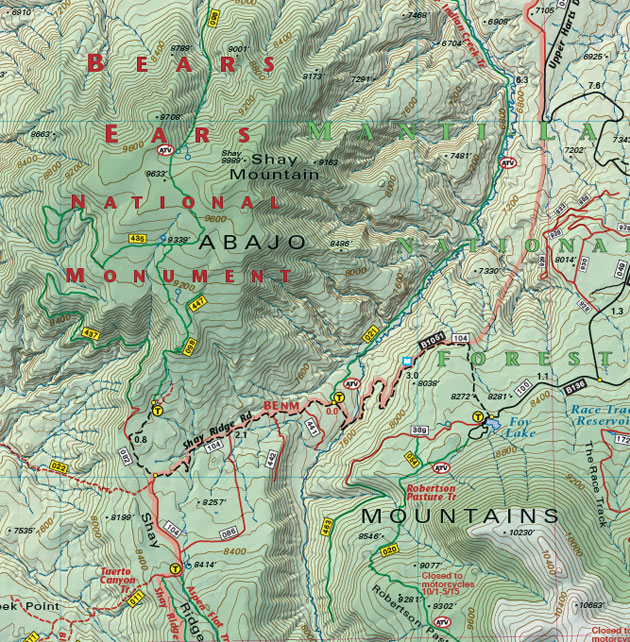 Abajo Mountains trail road map