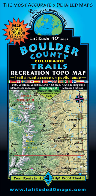Boulder County Trails Recreation Topo Map Latitude Maps - Us map latitude