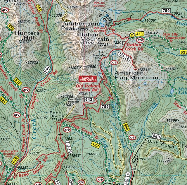 colorado mountain bike trail jeep 4wd recreation map