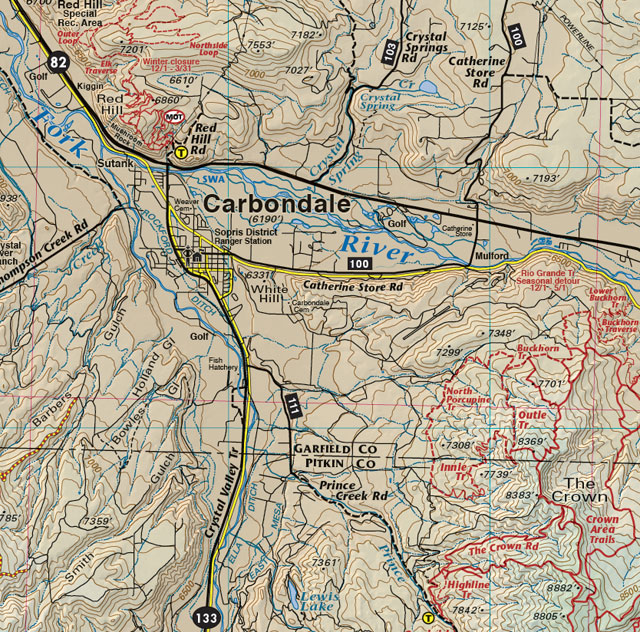 carbondale mountain bike trail jeep 4wd recreation map