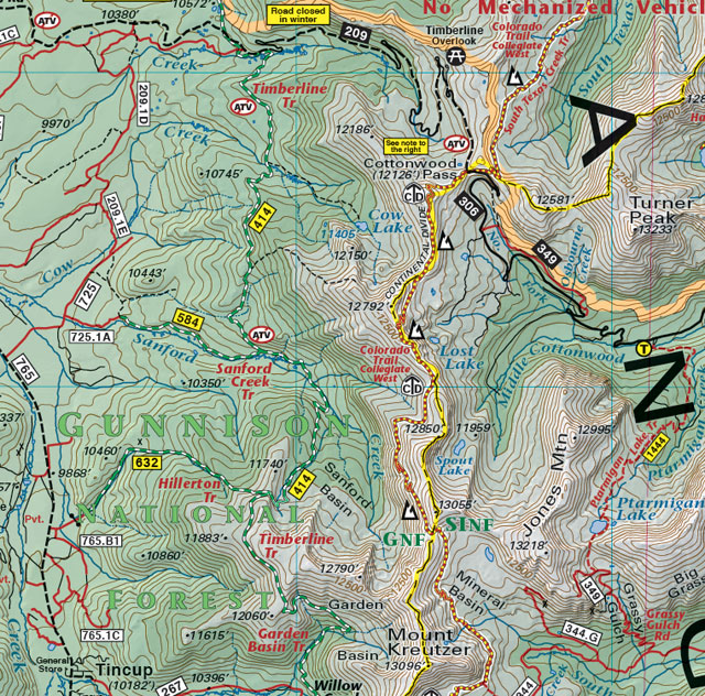 cottonwood pass mountain bike trail jeep 4wd recreation map