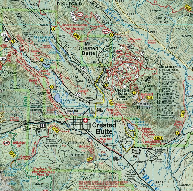 Colorado Elevation Map: Crested Butte - Aspen - Gunnison Trails