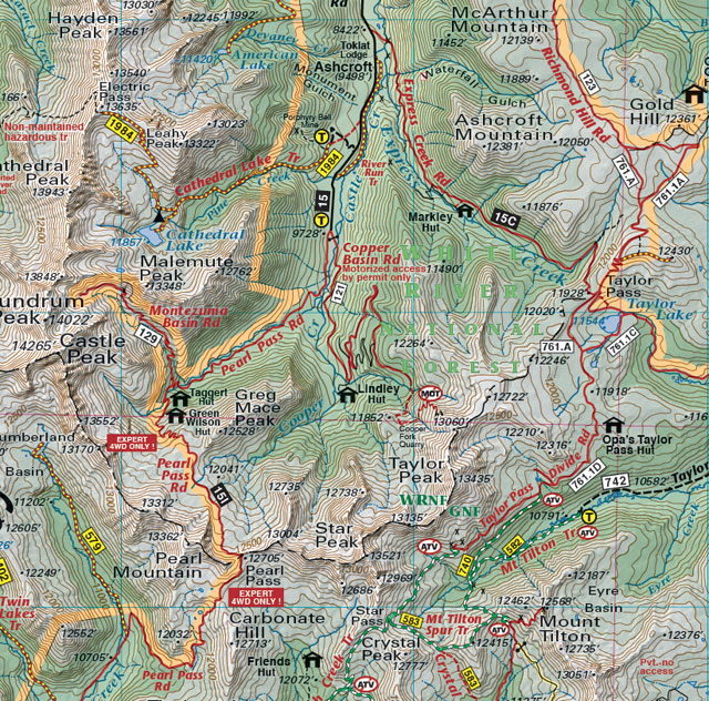 pearl pass taylor pass recreation map