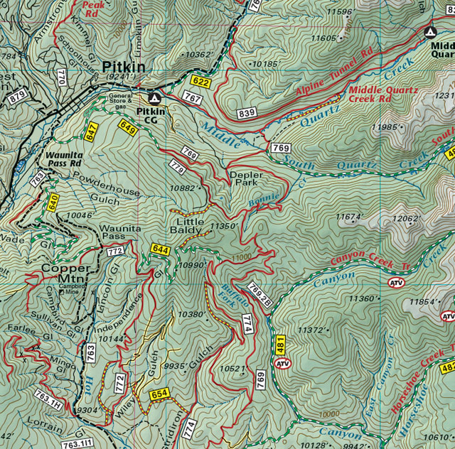pitkin colorado mountain bike trail jeep 4wd recreation map