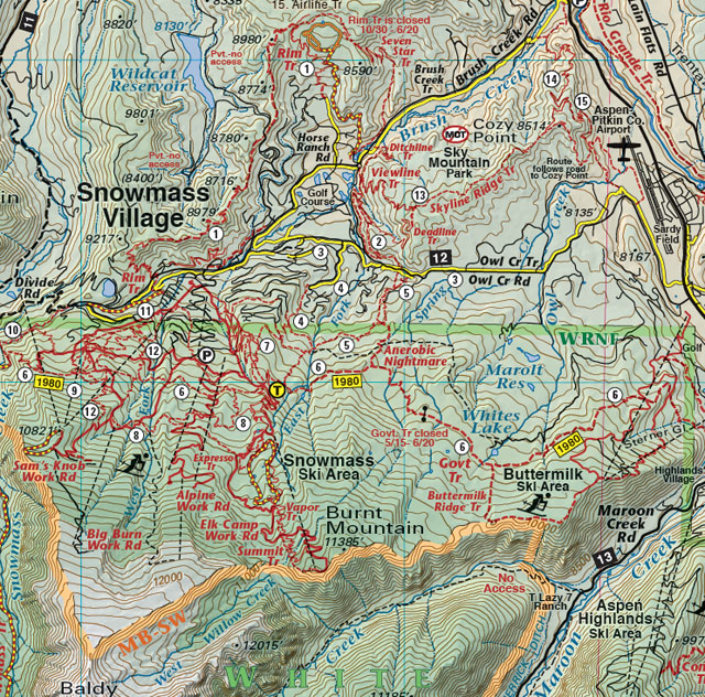 snowmass village mountain bike trail jeep 4wd recreation map