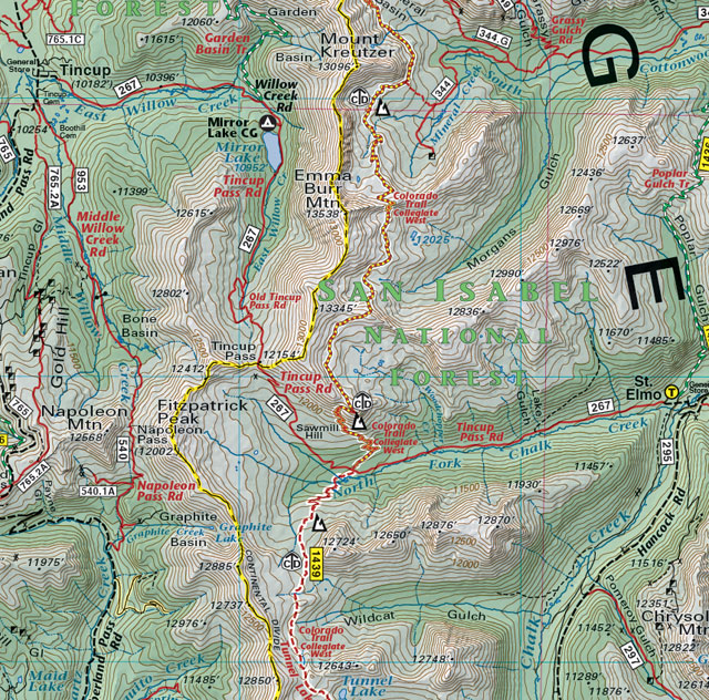 tincup pass colorado mountain bike trail jeep 4wd recreation map