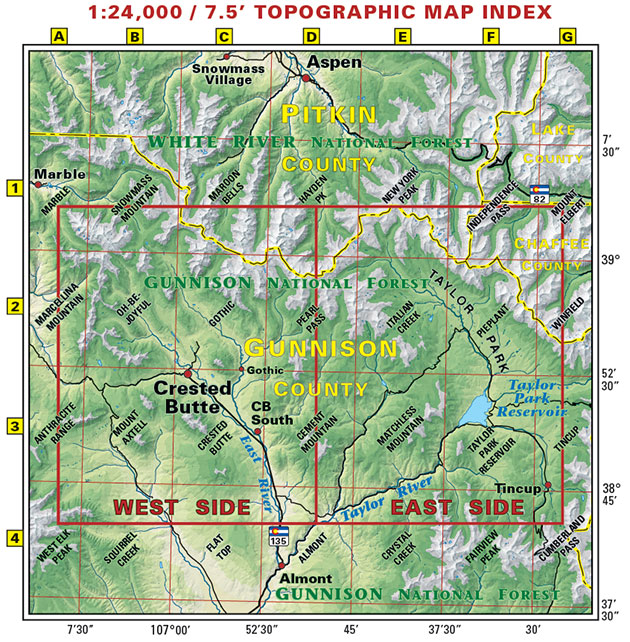 crested butte taylor park trails topo map
