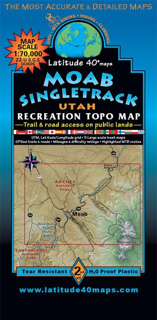 Moab Singletrack | Utah Recreation Topo Map | Latitude 40° maps