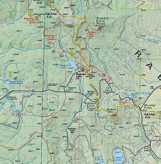 steamboat rabbit ears trails topo map