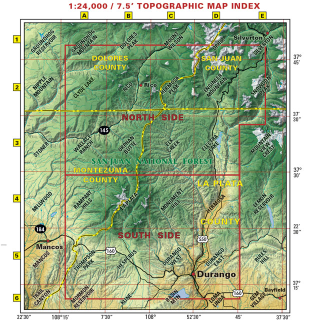 Durango area recreation map trails hikes biking