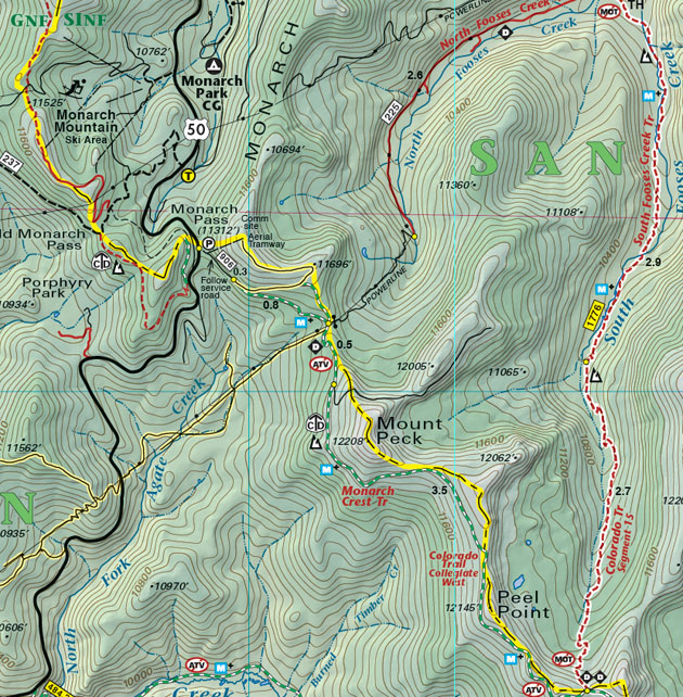 Monarch Crest Trail topo map