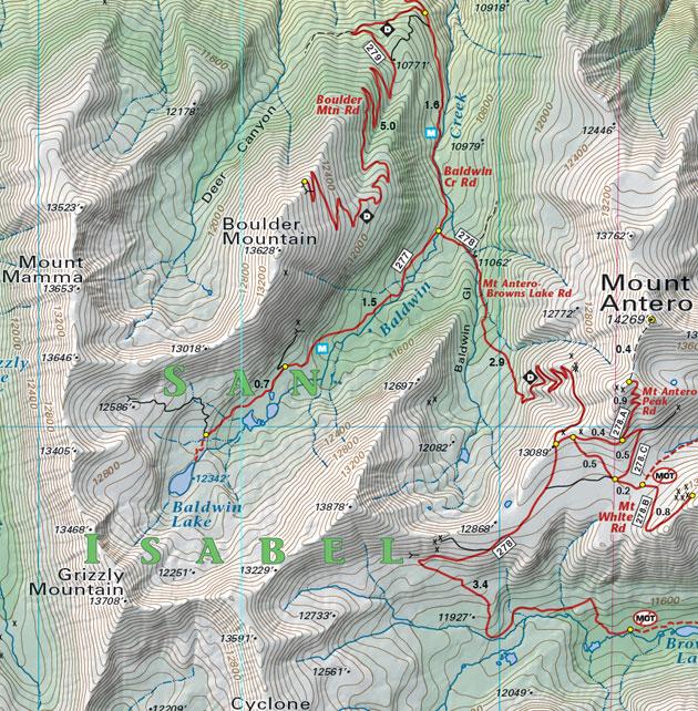 Mount Antero topographic recreation map